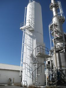 C-1237 PORTEC SILO, 25,000 GALLON, 12' X 30', WITH CARBON STEEL PADDLE MIXER